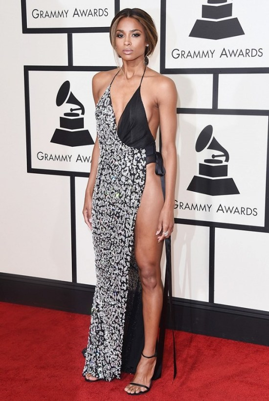 Ciara in High cut Alexandre Vauthier Black and white gown