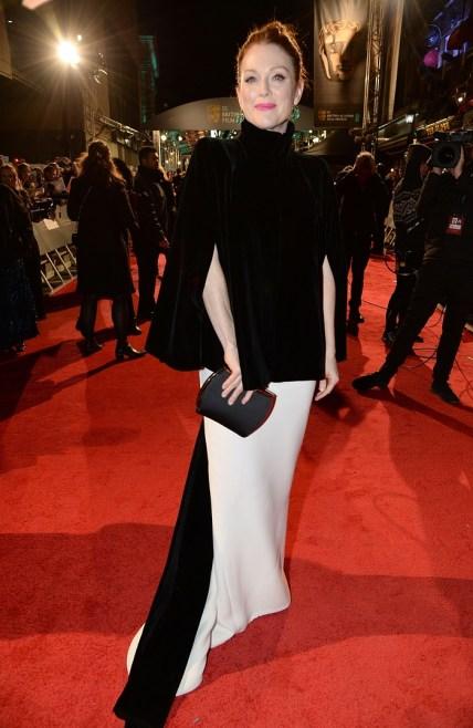 Julianne Moore in Giorgio Armani cape and gown red carpet