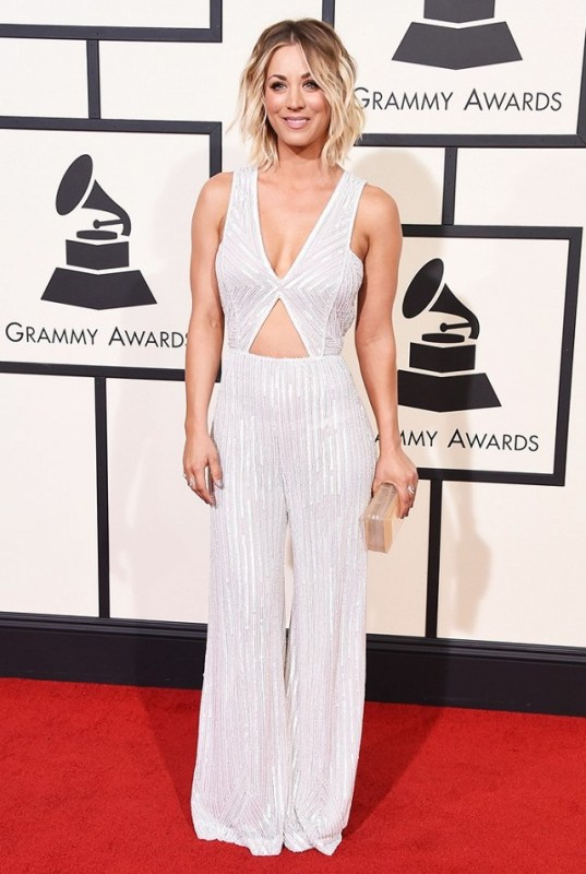 Kaley Cuoco in white Naeem Khan Jumpsuit