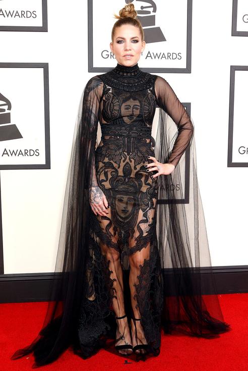 Sklyar Grey Black sheer Cary Santiago Gown