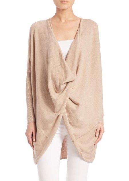 tart-Sweater-twist front beige cotton cashmeere