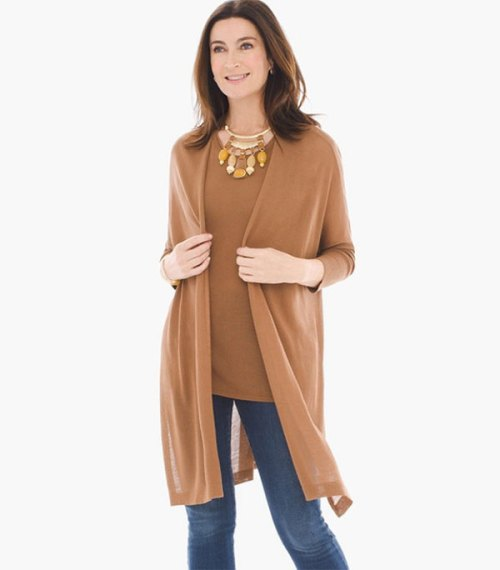 fashion mistakes that make you look older shapeless clothes tan sweater set on brunette model