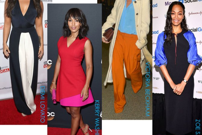 ahh the art of color blocking its a most interesting fashion trend that celebrities use to add bold color to their wardrobe but it can get intense