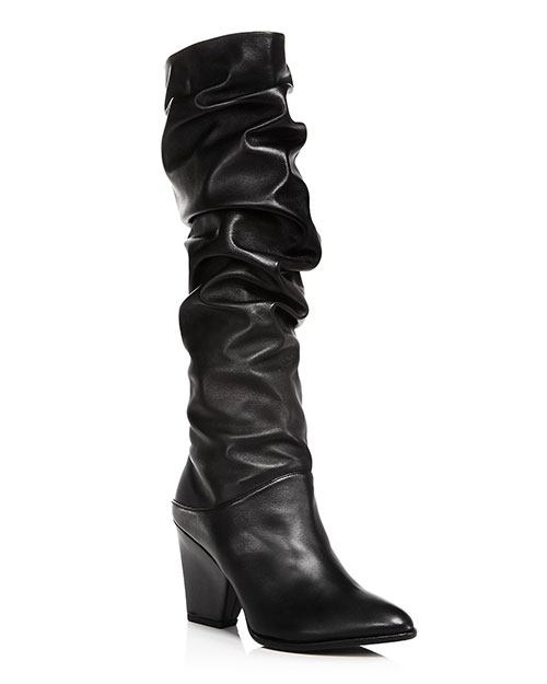 Stuart Weitzman Leather Scrunched Tall Boots Olivia Palermo goes military fountainof30