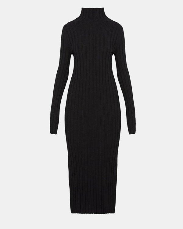 Theory Long-Sleeve Mockneck Dress Olivia Palermo goes military fountainof30