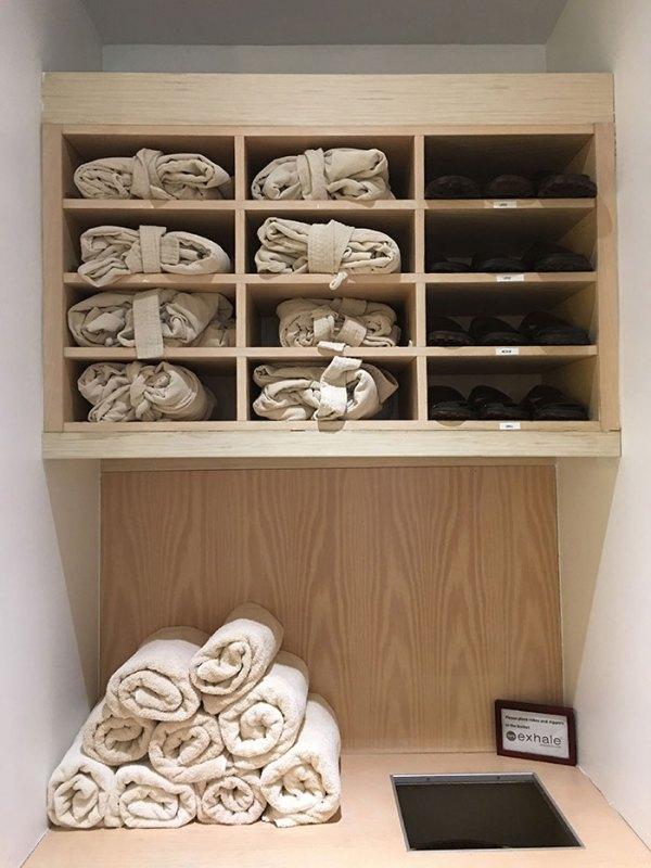robes and slippers at exhale spa