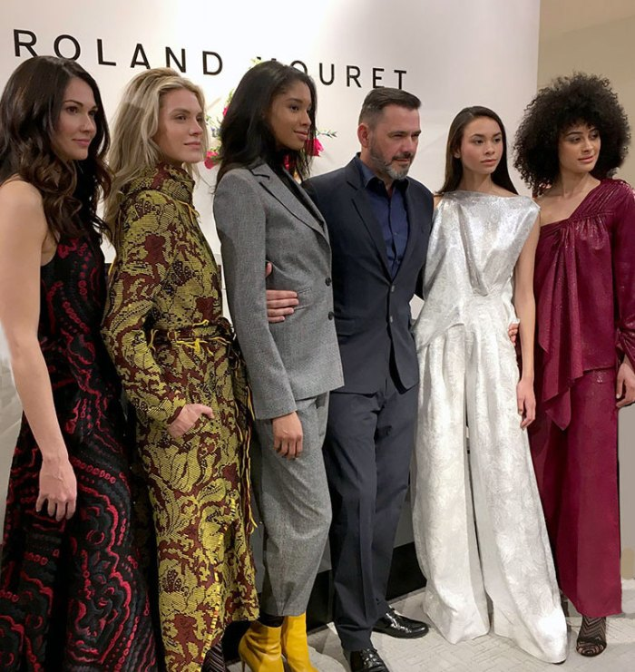 Roland Mouret with models in Fall 2018 collection in Chicago at Neiman MArcus
