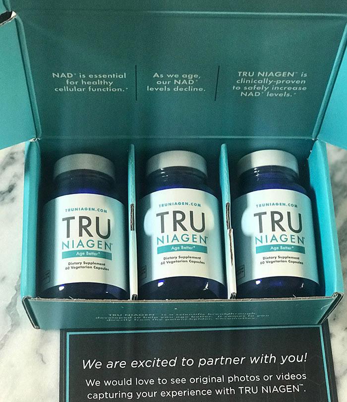 Tru Niagen box of 3 bottles