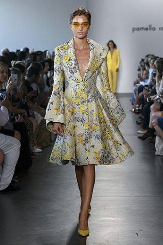 marigold yellow Pamella Roland floral coat dress SS19