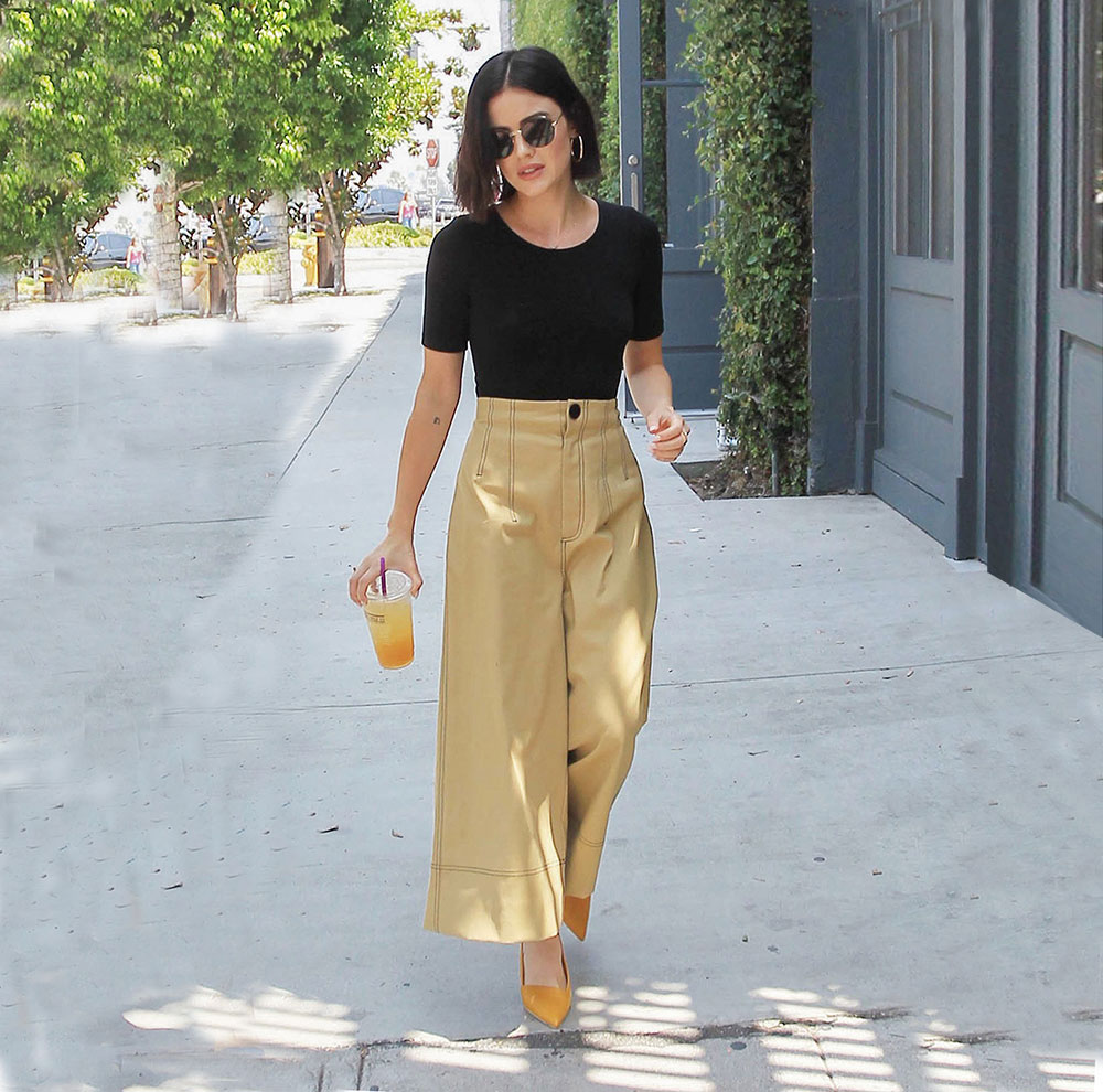 Lucy Hale wide leg pants look for less