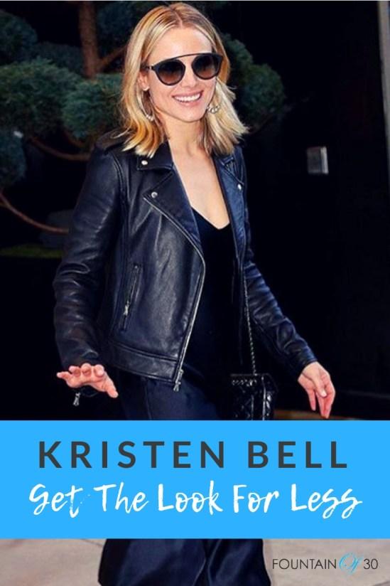 Kristen Bell in Black Leather Biker Jacket