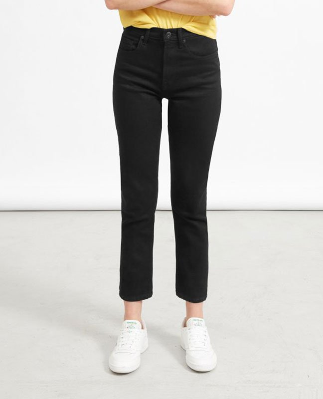 jeans under 100 black straignt leg ankle jeans with white sneakers