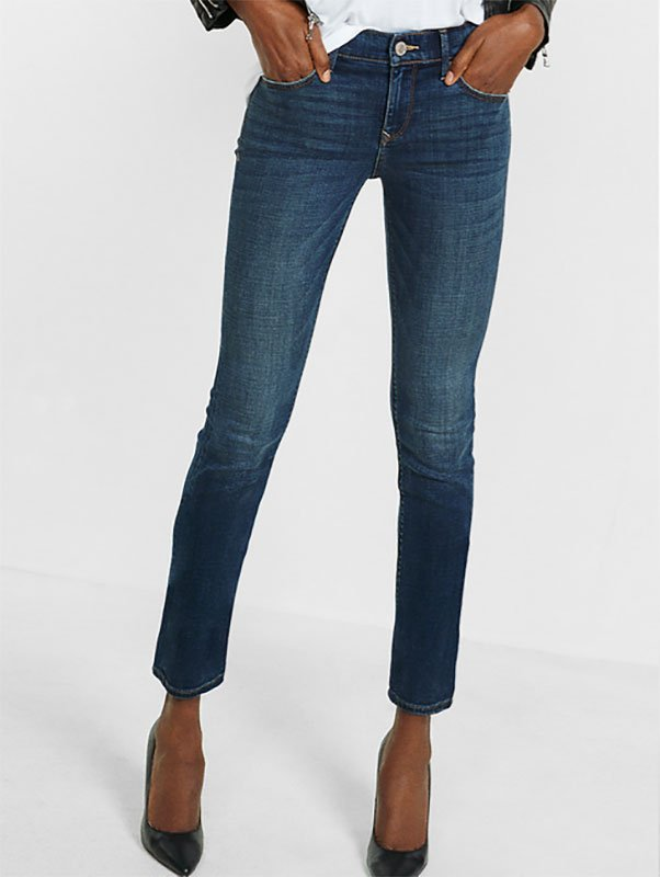 jeans under 100 Mid Rise Dark Wash Stretch Skinny Jeans