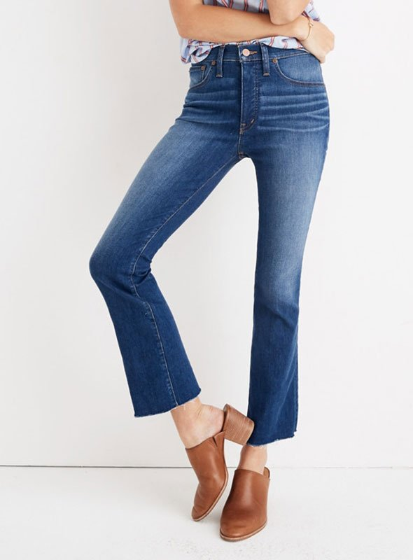jeans under 100 Demi-Boot Jeans in Marco Wash with brown slide heels