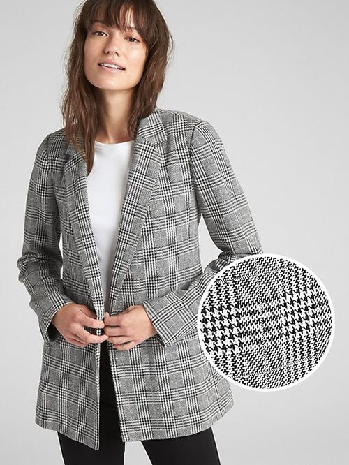 Meghan Markle Casual Style classic oversize blazer with close up of glen plaid fabric