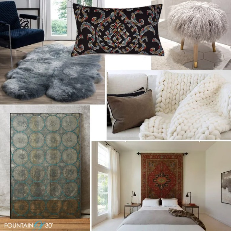 Cozy Fall Decorating Ideas sheepskin rug, chunky knit wool throws, tapestry pillows