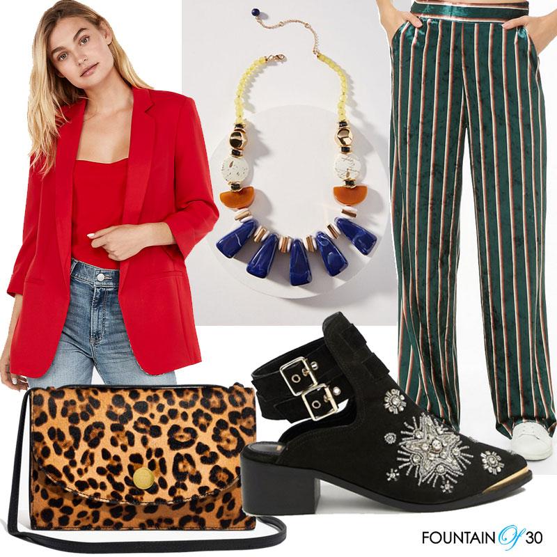 fall statement pieces red blazer leopard bag stripe pants