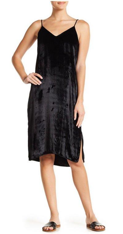 Kristen Bell celebrity look for less Black Velvet Slip Dress,
