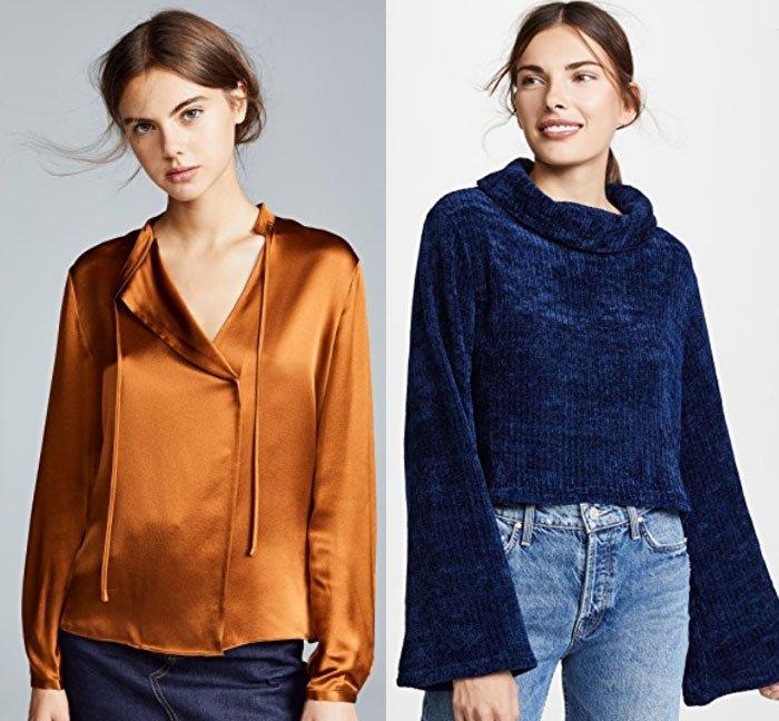 Tie Neck Popover in Copper and Sweater in Midnight