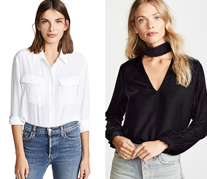 when you cnage your hair color white shirt on brunetter model and black blouse on blond modlel