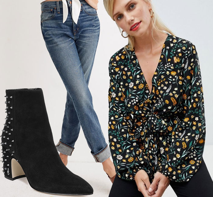 wear for Thanksgiving worn out jeans, floral blouse, black suede stud booties
