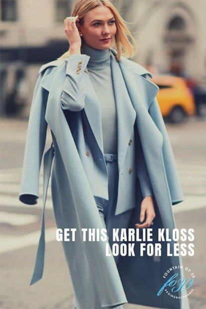 Karlie Kloss supermodel wearing monochromatic light blue blazer, pants, overcoat and turtleneck on a city street