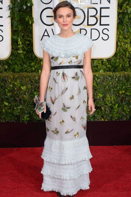 Keira Knightley in white Chanel dress at the golden globes