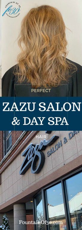 Zazu Salon and Day Spa  wavy highlighted hairstyle shown from the  back and photo outside the salon