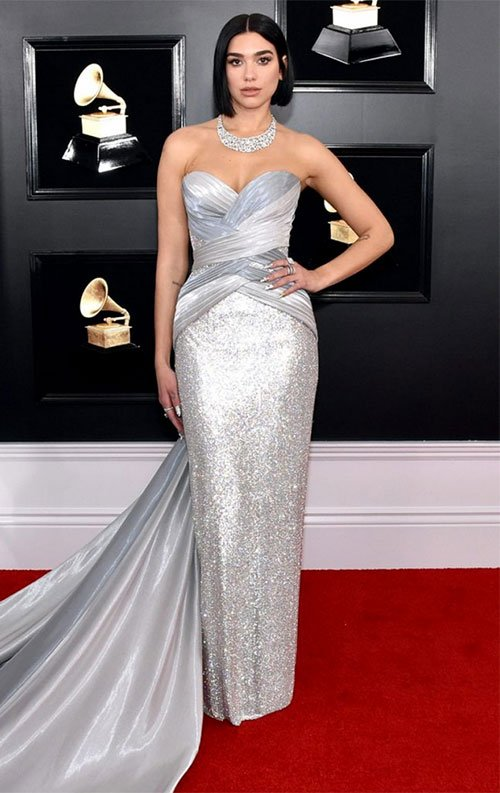 Dua Lipa in Versace silver column gown with train grammy awards 2019 red carpet