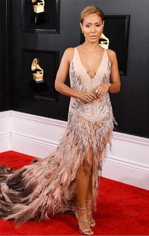 Jada Pinkett Smith in Roberto Cavalli high low feather blush gown on the red carpet