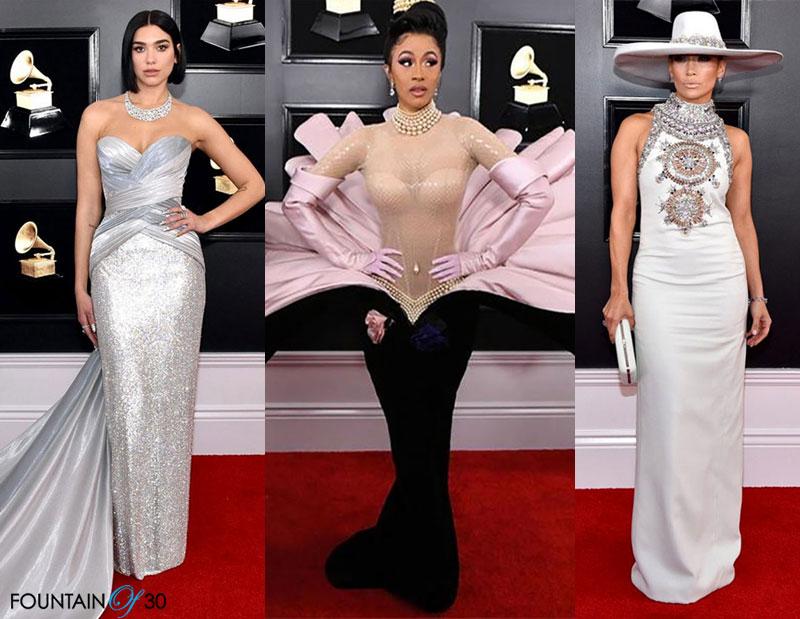 Grammy Awards 2019 Fashion Dua Lipa Cardi B and J Lo