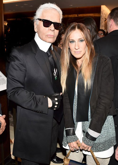 Karl Lagerfeld and Sarah Jessica Parker in Fendi