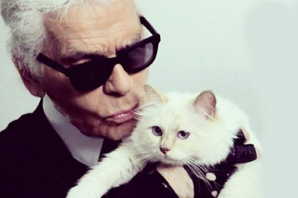 karl lagerfeld kissing his white cat Choupette