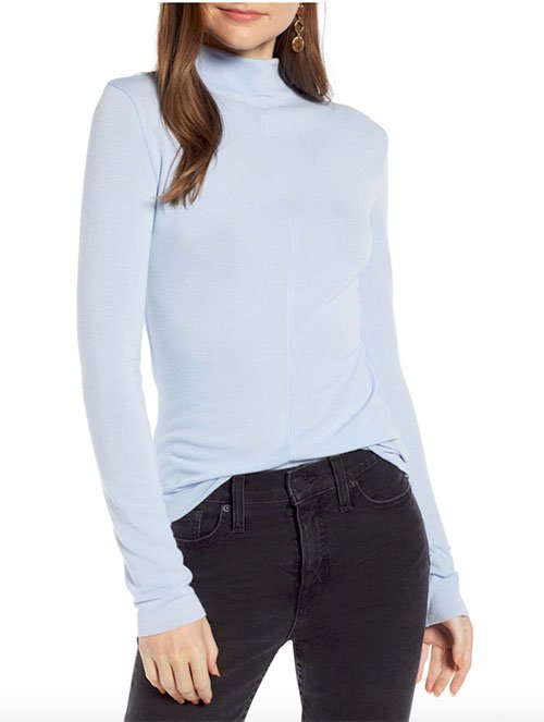 karlie kloss light blue look for less light blue mock neck top