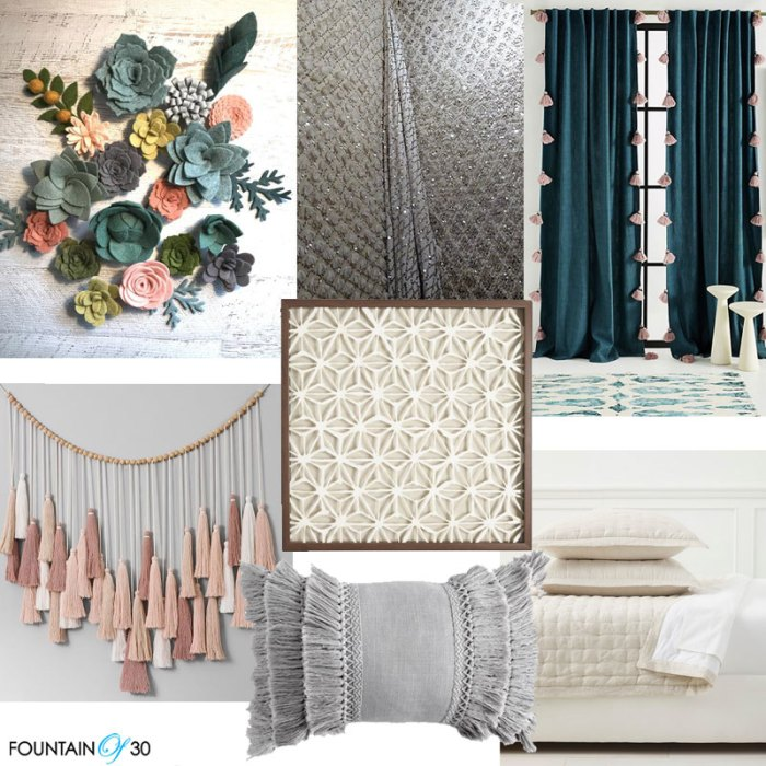 How To Use Textiles In Your Home felt florals, wall fabric, pom pom drapes, tassles