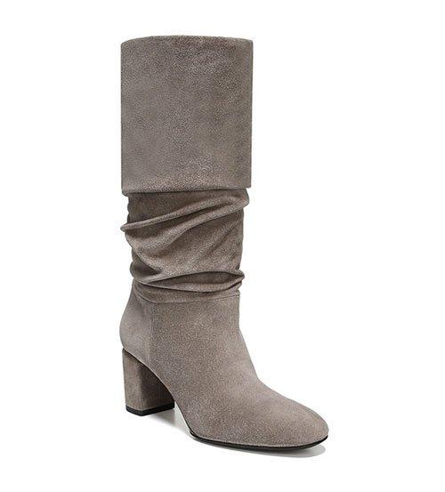 Grey Suede Scrunch Boots