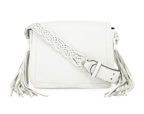 white Small Leather Crossbody Bag