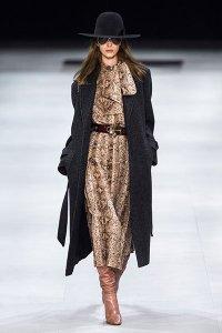 bow neck collar fall fashion 2019 celine snake print dress
