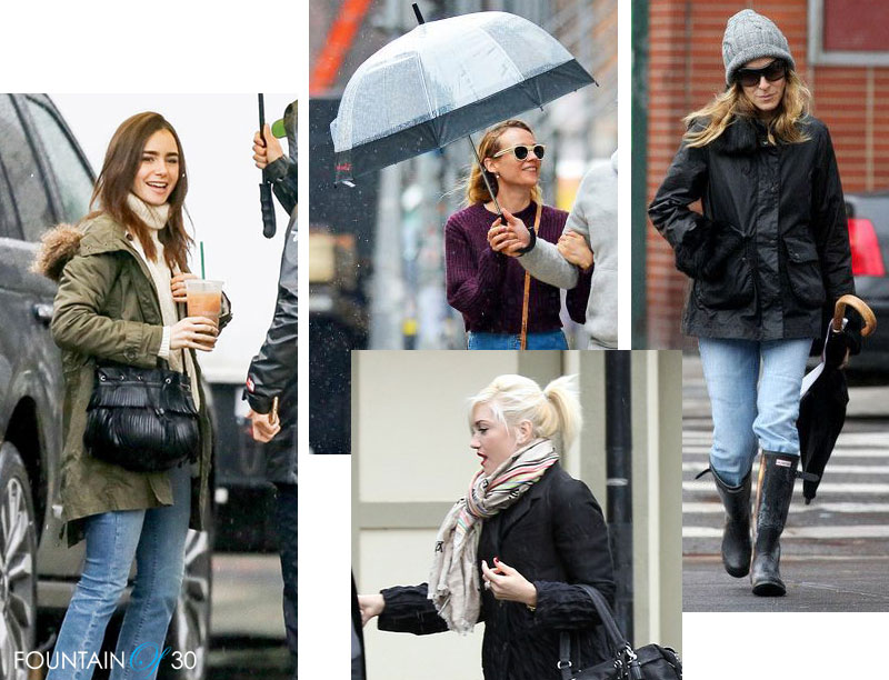 rainy day style Lily Collins, Gwen Stefan, Sarah Jessica Parker, Diane Kruger