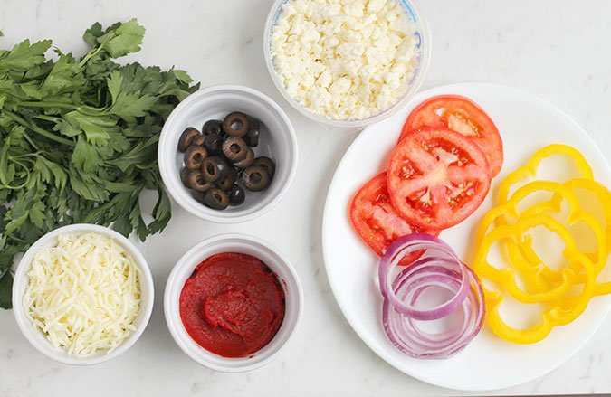 Cauliflower Pizza ingredients sauce and toppings fountainof30