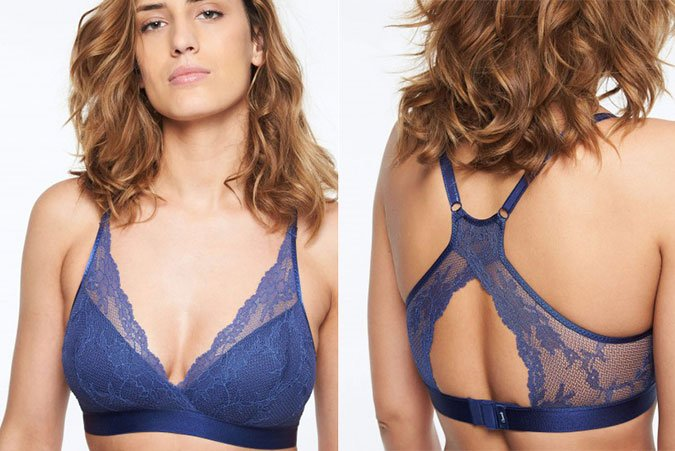 french lingerie brand blue lace Racerback lace bra