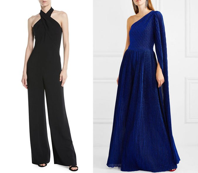 jumpsuits What to Wear To A Wedding black halter and royal blue wide leg