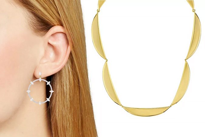 jewely What to Wear To A Wedding hoop crystal earrings and gold collar necklace