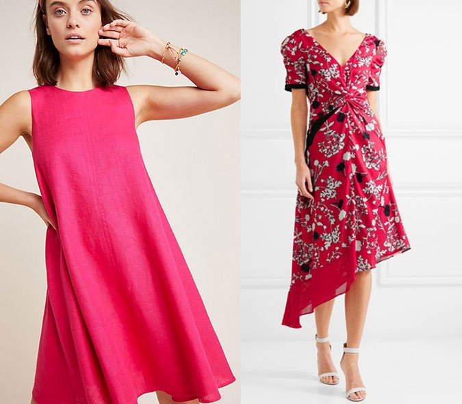 little pink dress wedding guest attire solid and floral
