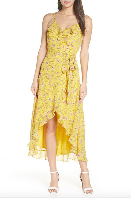 Sofia Vergara Look For Less Floral High/Low Wrap Midi Dress fountainof30