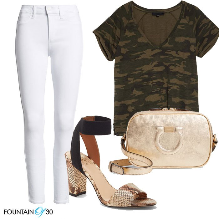 Camo Trend Styling camouflage tee white jeans gold bag fountain of 30