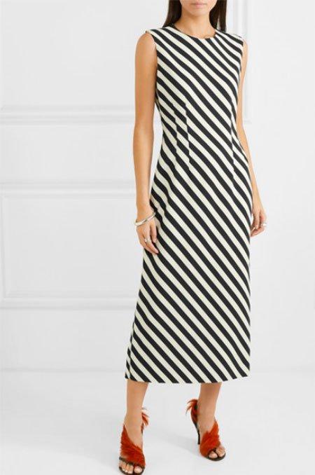 diagaonal stripes black and white midi dress fountain of 3o