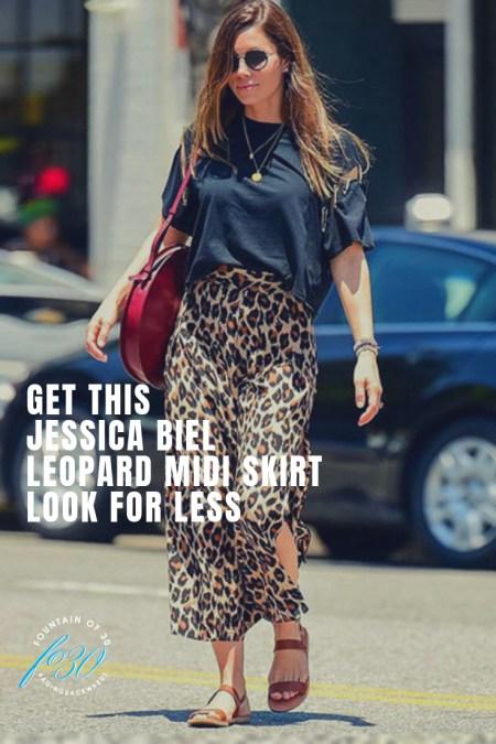 Jessica Biel leopard midi skirt look for less fountianof30