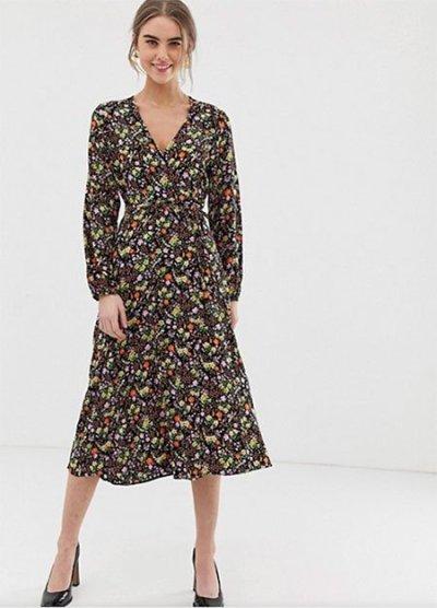 Hilary Duff look jersey wrap dress in dark florals