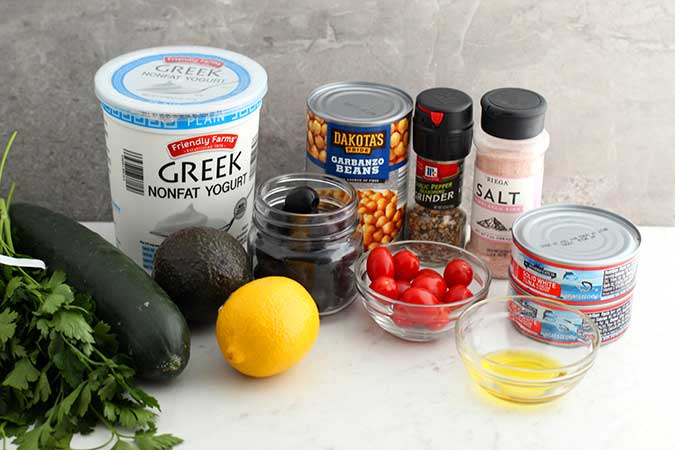 Mediterranean Tuna Salad Recipe ingredients